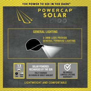 Powercap 15/00 Solar Cotton LED Lighted Hat infographic features