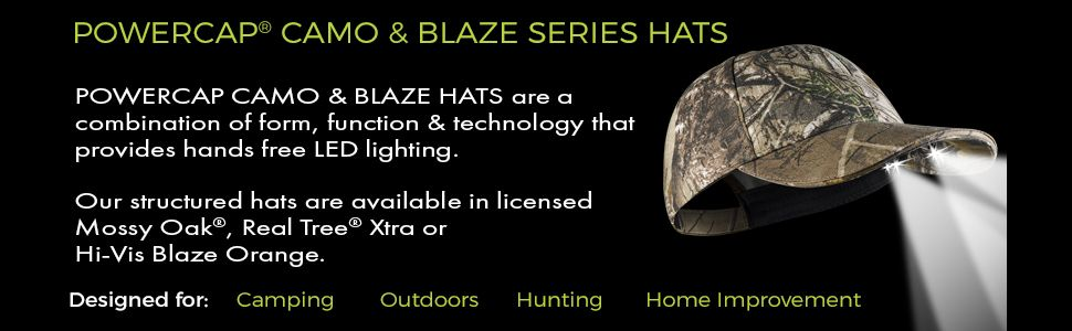 POWERCAP 25/10 Structured Camo & Blaze LED Lighted Hats
