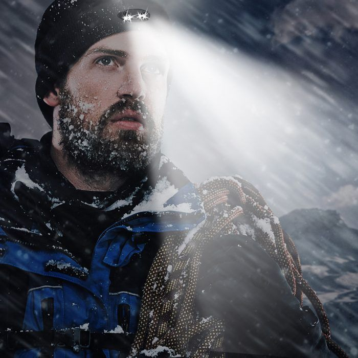 man with lighted beanie for winter weather