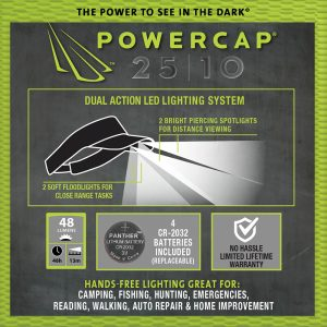 Infographic - the power to see in the dark with Powercap 25/10 microfiber LED visor