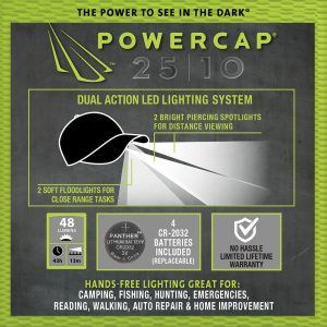 Infographic showing features of Powercap 25/10 Structured Camo LED hat