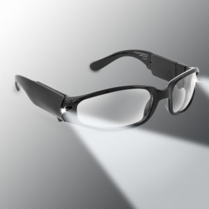 black lighted safety googles