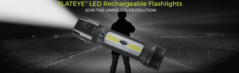 Banner of rechargeable led lighted flashlight