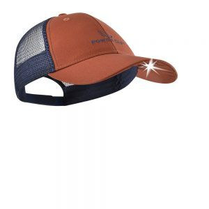 orange and blue lighted hat