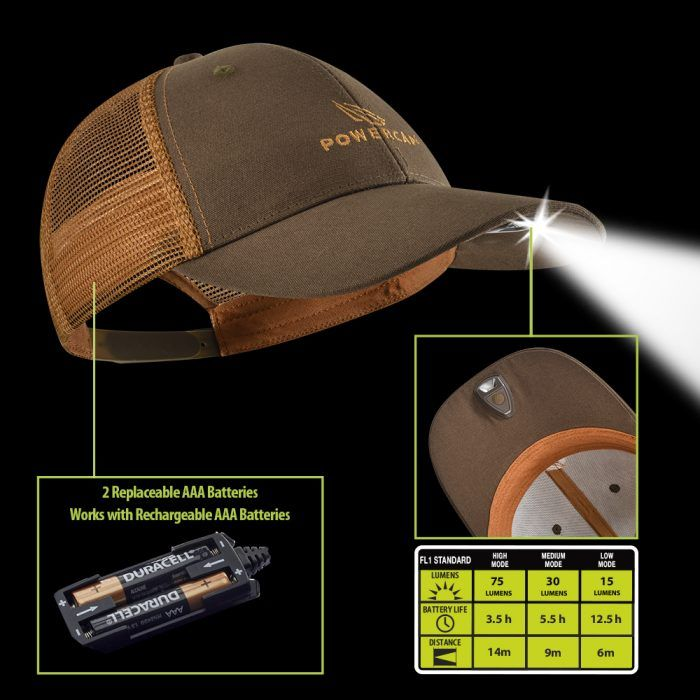 orange and brown lighted hat