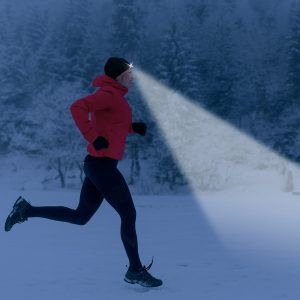 running with a lighted hat