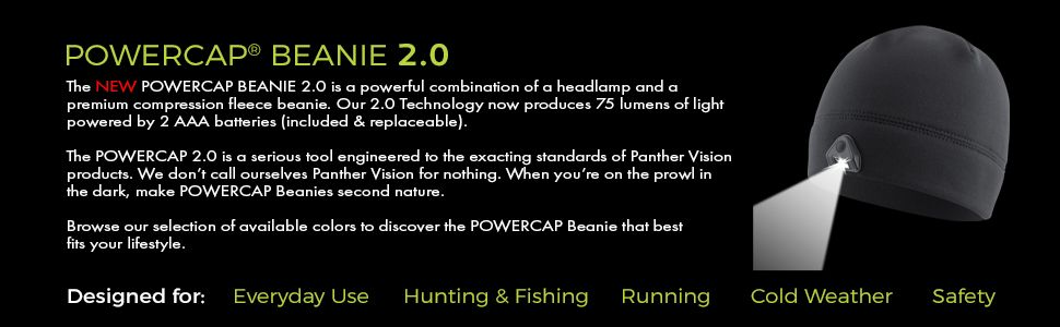 Powercap 2 0 Fleece Led Lighted Headlamp Beanies Panther