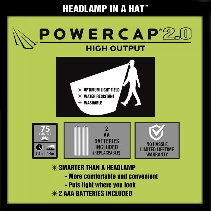 POWERCAP 2.0 Lighted Hat Features
