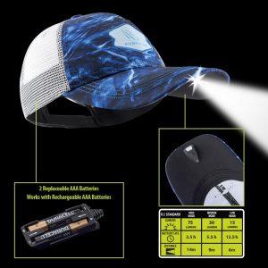 Aqua Blur Mossy Oak Lighted Fishing Hat Technology