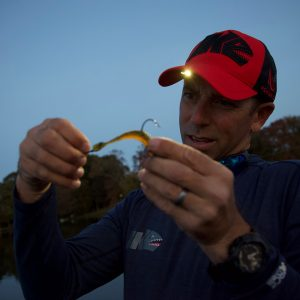 IKE LED Lighted Fishing Hat In Use