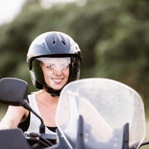 motorcyclist needing safety glasses