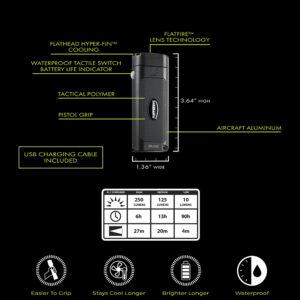 Flateye rechargeable flashlight specs
